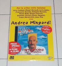 Cartonato Promo Cd ANDREA MINGARDI Ciao ragaz Live in dialetto POSTER manifesto