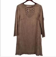 NWT Max Studio Faux Suede Laser Cut Fringed Dress Medium Brown