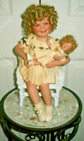 Shirley Temple & Her Doll by Danbury Mint in a White Wicker ROCKING Chair!!