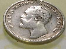 2 Kronor Kronen 1876 Oscar II Sveriges o.Norges Konung Silber Sweden Norway Coin
