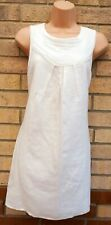 NEXT WHITE LINEN SLEEVELESS CHIFFON FRILL GRECIAN NECK SHIFT SMOCK SLIP DRESS 12