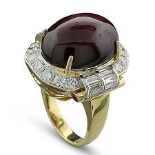 Ring Sternrubin 22,10 ct sowie Brillanten Diamanten und Saphire 750-Gelbgold
