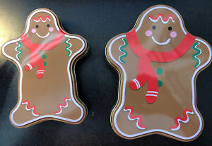 Christmas Holiday Tin Container Cookie Gingerbread Man  New lot of 2 diff sizes