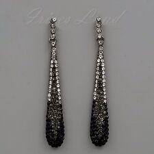 Alloy Black Jet Crystal Rhinestone Chandelier Drop Dangle Earrings 00508 Party