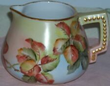 Antique Hand Painted Beaded Handle Porcelain Jug / Creamer Unknown Maker 1900s