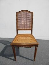 French Provincial Cane Accent Chair Carved Wood Frame
