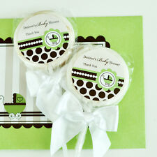 96 Green Baby Theme Lollipops Personalized Lollipop Baby Shower Birthday Favors
