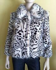NWT VIGOSS COLLECTION Women's Coat Jacket Faux Lynx Fur 3/4 Sleeve White Size XS