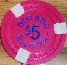 Old $5 DORADO RIVIERA Casino Poker Chip Vintage Antique Small Key Puerto Rico