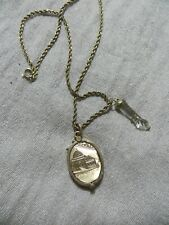 """Victorian GF. Slide Engraved Locket/Crystal Figa Charm's Rope Chain Necklace 16"""""""