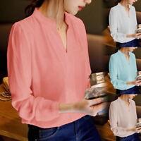 Mode Damen Bluse mit Leoparden Print Langarm V Ausschnitt Chiffon Shirts Neu FL