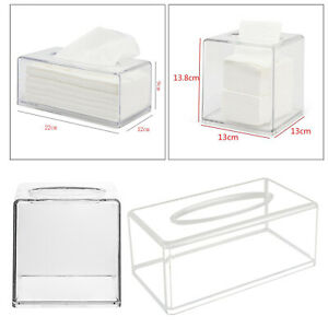 Acrylic Tissue Box Clear Napkin Hand Towel Dispenser Cover for Office Home