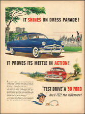 Vintage ad for '50 Ford retro car blue red      (070118)