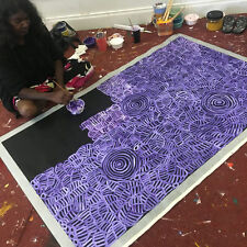 "ABORIGINAL ART PAINTING by BETTY MBITJANA ""AWELYE & BUSH MELON"" Authentic, WIP."