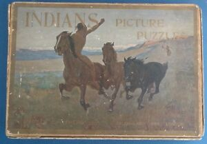 Antique Vintage Parker Brothers INDIANS picture puzzles board game child western