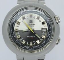 VINTAGE Tissot T12 24hr World Time Mens 44mm Steel Automatic Watch Gay Freres