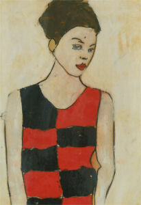 Ben Carrivick - Contemporary Oil, Figure in Black and Red Checked Dress