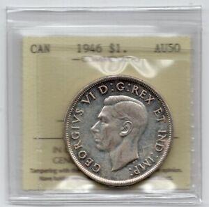 1946 Canada One Silver Dollar Coin - ICCS AU-50