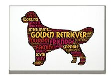 More details for golden retriever art print word art a4 a3 mothers day gift personalised option