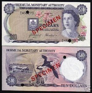 BERMUDA 10 DOLLARS P30 1978 Specimen QUEEN BIRD BOAT UNC MONEY CURRENCY BANKNOTE