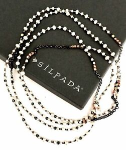 Silpada Sterling Silver Copper Pearl Bead Magnificent Mile Necklace N1993 LONG