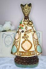 RARE Antique French Plaster black madonna Mary saint statue religious 1920