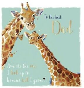 Giraffes I Look Up To Dad Fathers Day Card – Gold Detail Illustrated Artwork