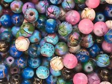 250 6mm Glass Marbled Drawbench Beads Beautiful MIXED COLOURS Free UK Postage