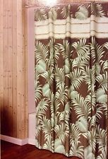 Palm Leaves Tropical Fabric Shower Curtain Beautiful Brown & Green Rattan New