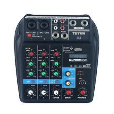 Tragbarer Audio Mixer Mischpult BT Sound 3-Band EQ 48V Phantomspeisung 4 Kanal