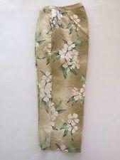 Sz 10 Silk Pants Capri Cropped Hawaiian Floral Cruise Vacation
