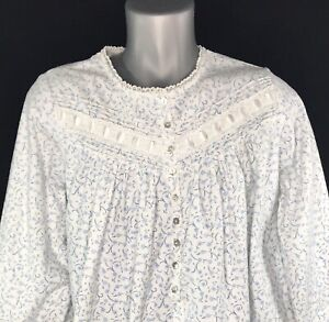 Eileen West Womens M Cotton Nightgown Blue Floral Print Lace Trim