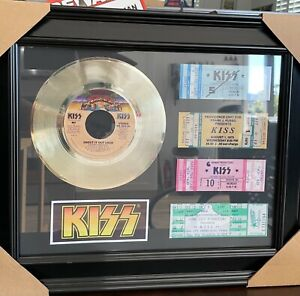 KISS SHOUT IT OUT LOUD PLATINUM PLATED 45 RECORD+4 CONCERT TICKETS