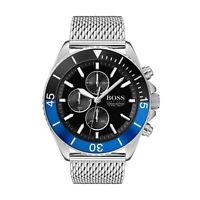 Hugo Boss HB 1513742 Ocean Edition Black&Blue Bezel Mesh Strap Men's Wrist Watch