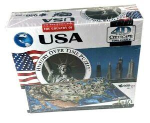 USA History Over Time 4D Cityscape Puzzle US Map Famous Places 950 pcs NEW