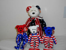 BEANIE BABY LIBERTY/RED, WHITE AND BLUE/ALL WITH ERROR TAGS/MWMT&SPANGLE!