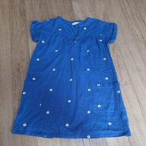 Girls FAT FACE Dress- 9-10 Years - Blue with Embroidered Daisies