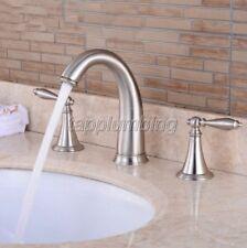 Brushed Nickel Widespread Bathroom Basin & Sink Faucet 3 Hole Deck Mount tnf039