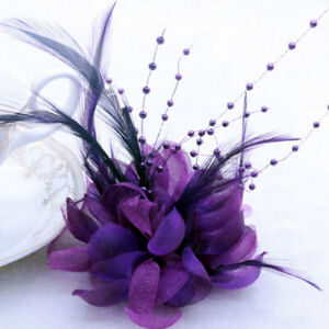 28Colors Pearl Corsage Hair Clip Flower Fascinator Feather Hairpin Party Wedding