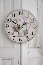 Clayre & Eef Wanduhr Lavendel Uhr Clock Shabby Chic Vintage Landhaus