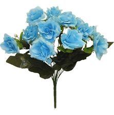 12 Open Roses Light Blue Long Stems Wedding Centerpieces Bouquet Silk Flowers