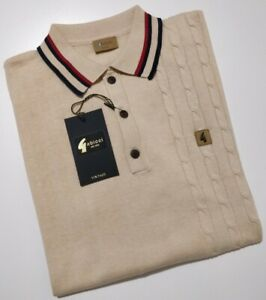 GABICCI VINTAGE Mens OAT Knitted Polo Top size 2XL