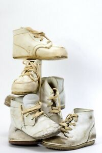 Vintage Baby Infant Shoes Booties Leather Boy Girl Doll Lace Lot Buster Brown +
