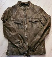 Tigha Herren Lederjacke Biker-Look Kuzman  Braun Sheep Leather Größe L