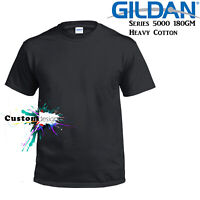 Gildan T-SHIRT Black Basic tee S M L XL XXL 3XL 4XL 5XL Men's Heavy Cotton