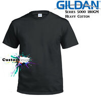 Gildan T-SHIRT Black Basic tee S M L XL 2XL XXL Men's Heavy Cotton Premium