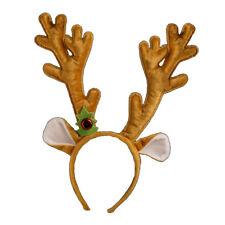 Christmas Ladies Velour Antlers women's Brown Hairband Fancy Dress Accessories