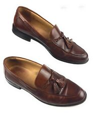 Johnston & Murphy Italy Cellini Brown Leather Tassel Apron Toe Loafers Shoes 12M