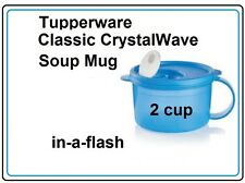 TUPPERWARE New CRYSTALWAVE SOUP MUG 2 C BLUE Microwave Reheat Container BPA Free