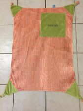 Moncalin Baby Blanket Green Orange Stripe Reversible Security Knotted Soft EUC